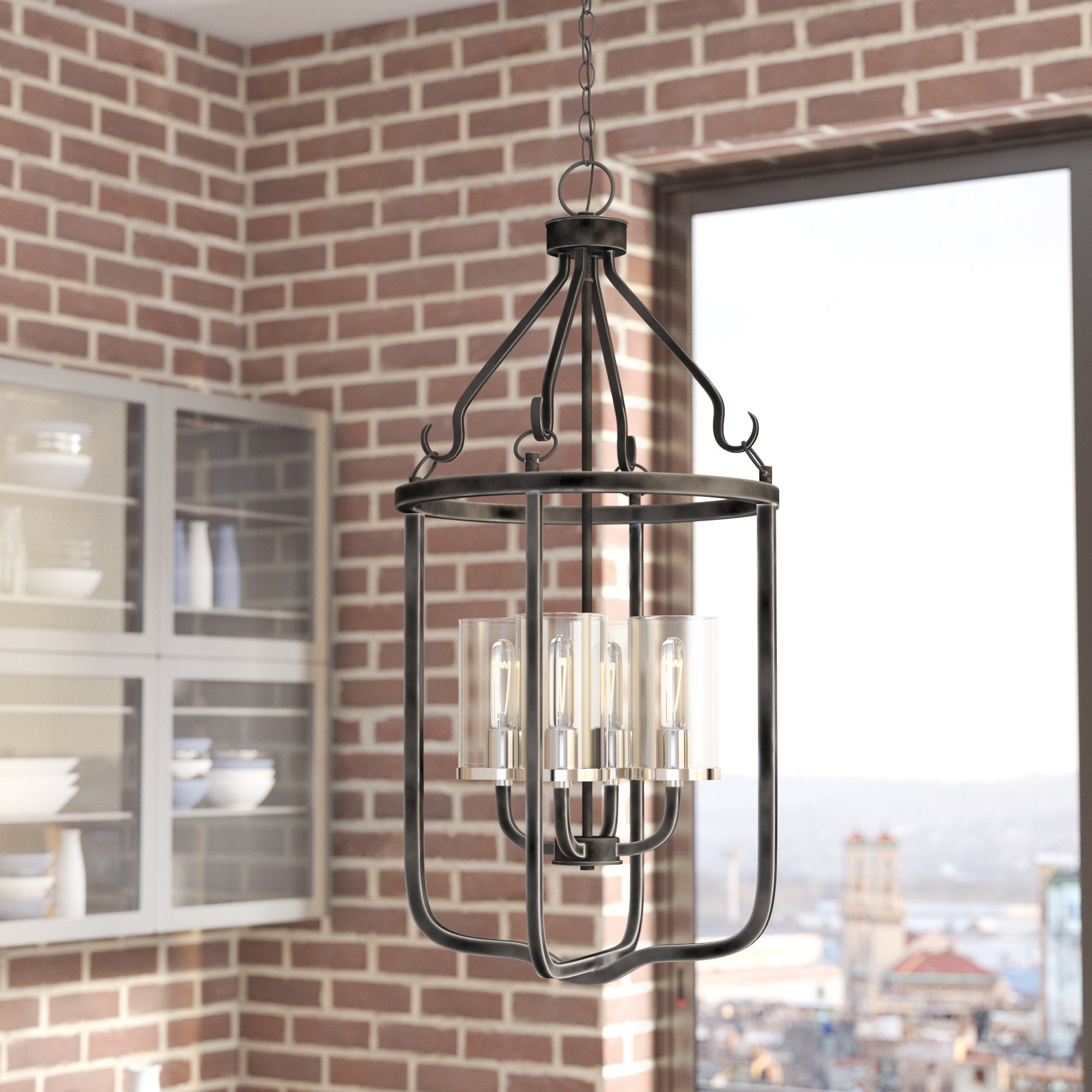 Kylee 4 Light Lantern Geometric Pendant Regarding Preferred Taya 4 Light Lantern Square Pendants (View 6 of 20)