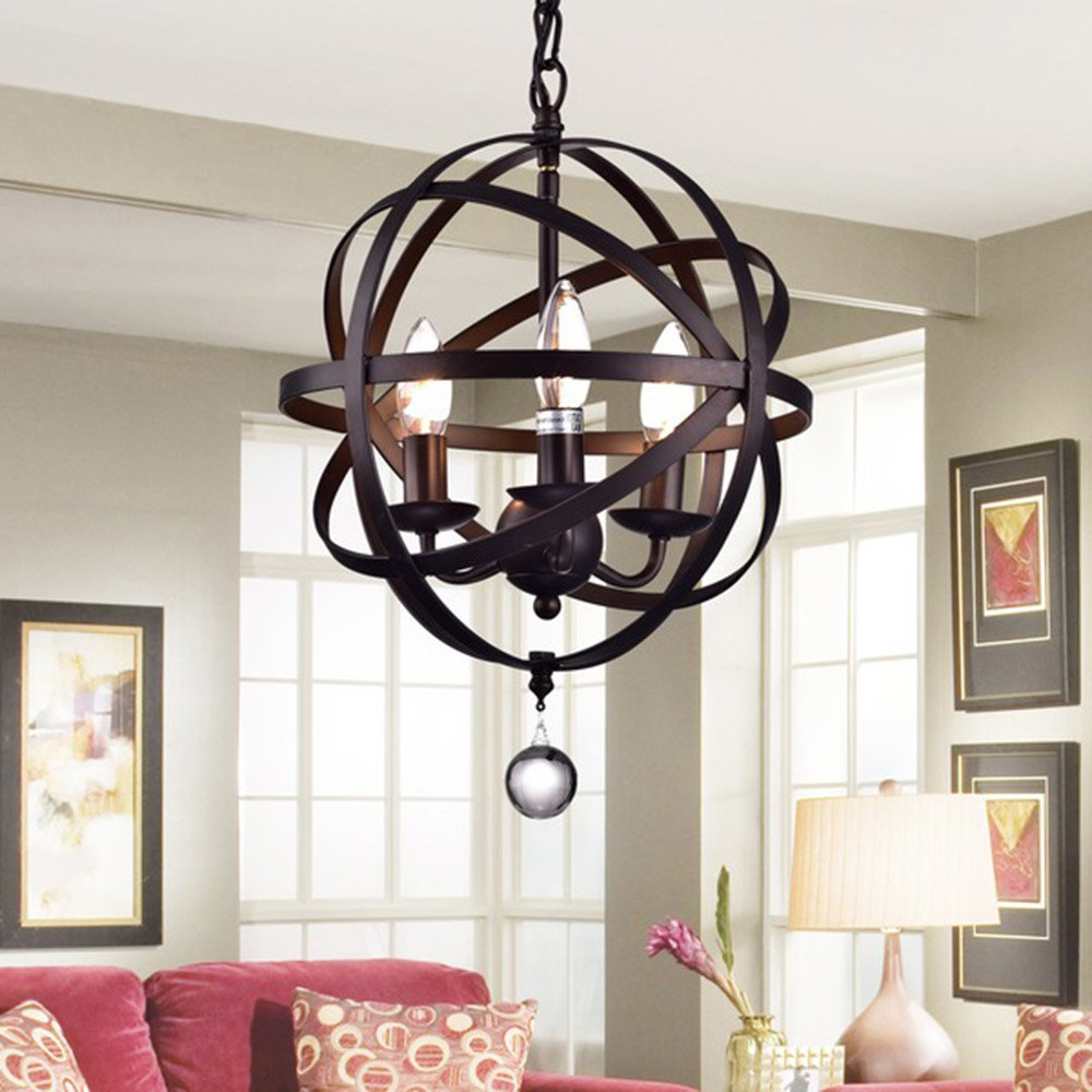 La Barge 3 Light Globe Chandeliers Throughout Fashionable Minick 3 Light Chandelier (View 13 of 20)