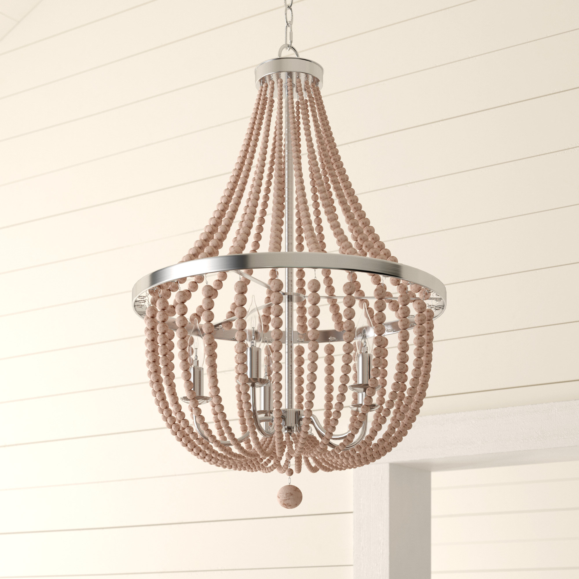 Ladonna 5 Light Novelty Chandeliers Regarding Well Liked Bay Isle Home Tilden Wood Bead 5 Light Empire Chandelier (View 6 of 20)