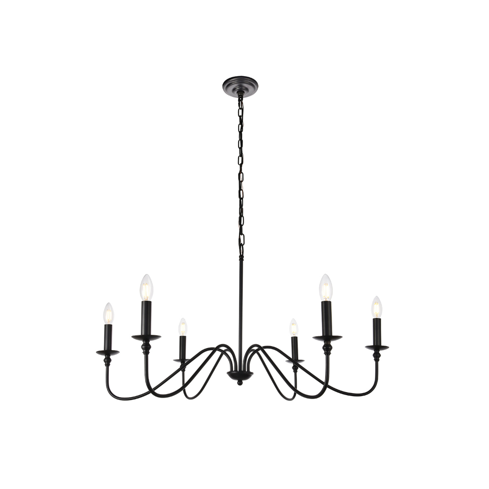 Ladonna 5 Light Novelty Chandeliers With Well Known Elegant Lighting Rohan Matte Black Six Light Chandelier (View 18 of 20)