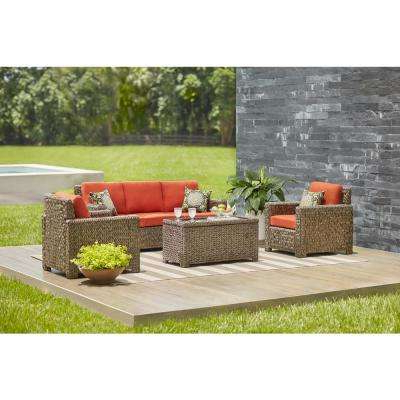 Laguna Point 4 Piece Brown All Weather Resin Wicker Patio Deep Seating Set  With Quarry Red Cushion In Popular Laguna Outdoor Sofas With Cushions (Gallery 12 of 20)