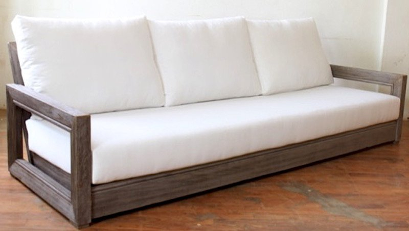 Lakeland Teak Patio Sofas With Cushions Within Trendy Constance Teak Outdoor Patio Sofa With Cushions (View 12 of 20)
