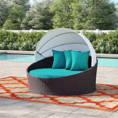 Latest 3 Piece Outdoor Red Circular Love Seat Daybed Set Cushions Regarding Grosvenor Bamboo Patio Daybeds With Cushions (View 12 of 20)