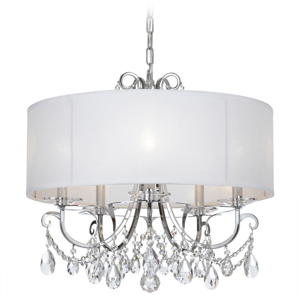 Latest Abel 5 Light Drum Chandeliers For Crystorama Lighting Othello Polished Chrome Pendant Light (View 12 of 20)
