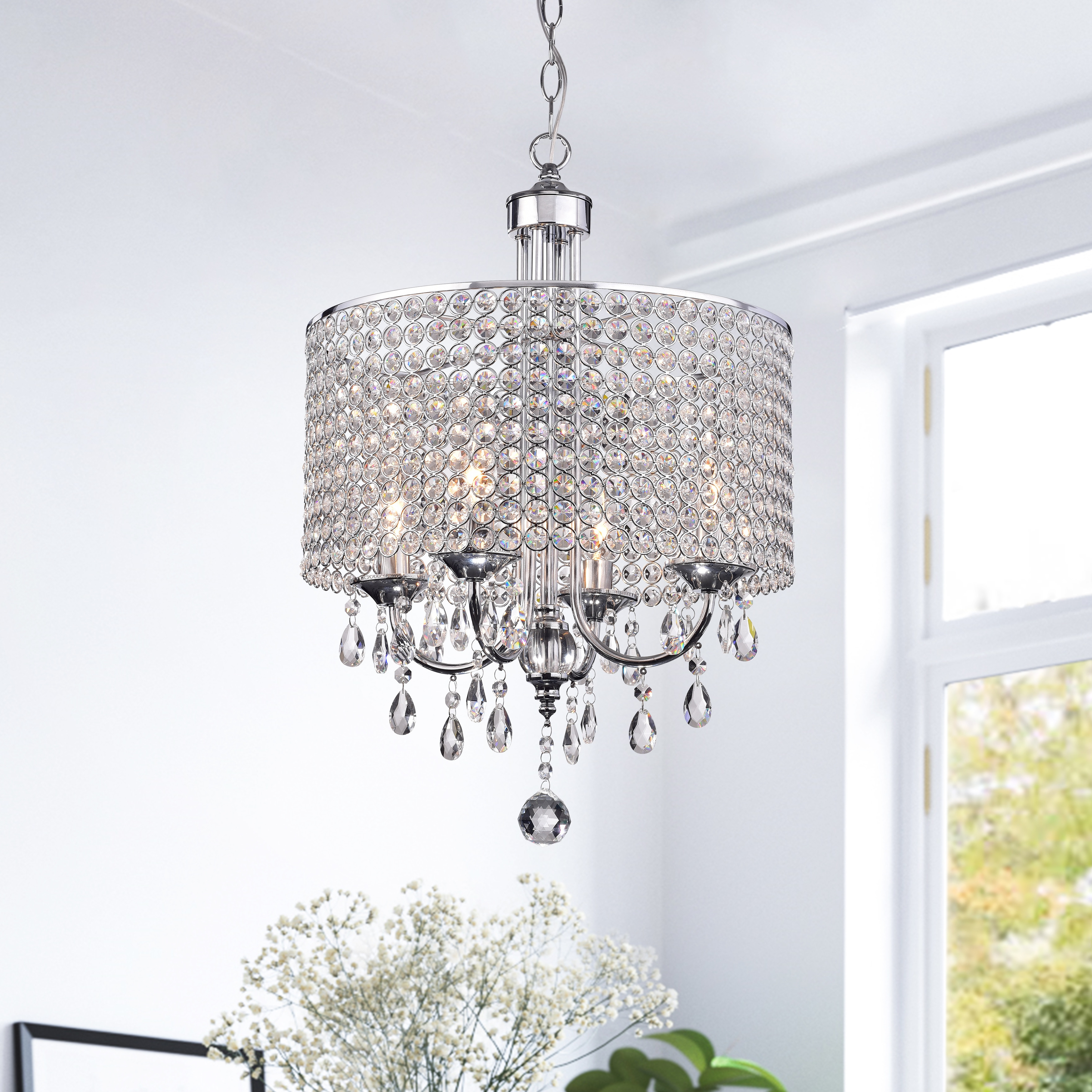 Latest Albano 4 Light Crystal Chandeliers In Silver Orchid Taylor 4 Light Chrome Finish Crystal (View 9 of 20)