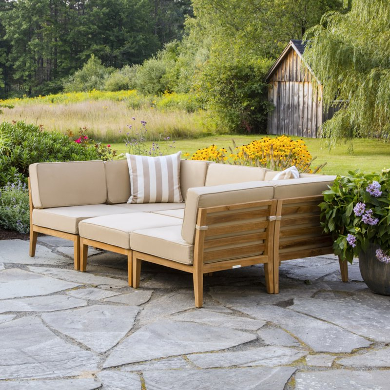 Latest Bali Teak Patio Sectional With Cushions Within Clary Teak Lounge Patio Daybeds With Cushion (View 12 of 20)