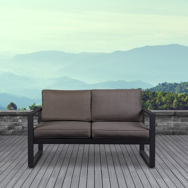 Latest Baltic Loveseats With Cushions With Shop Baltic Outdoor Black Love Seatreal Flame – Free (View 5 of 20)