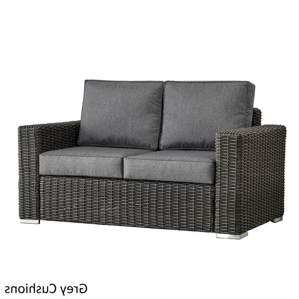 Latest Barbados Wicker Outdoor Cushioned Grey Charcoal Loveseat With Regard To Pantano Loveseats With Cushions (View 7 of 20)