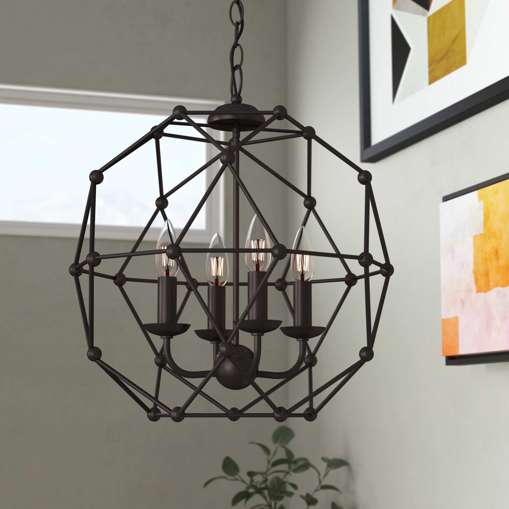 Latest Cavanagh 4 Light Geometric Chandeliers Within Mercury Row Cavanagh 4 Light Geometric Chandelier (View 5 of 20)