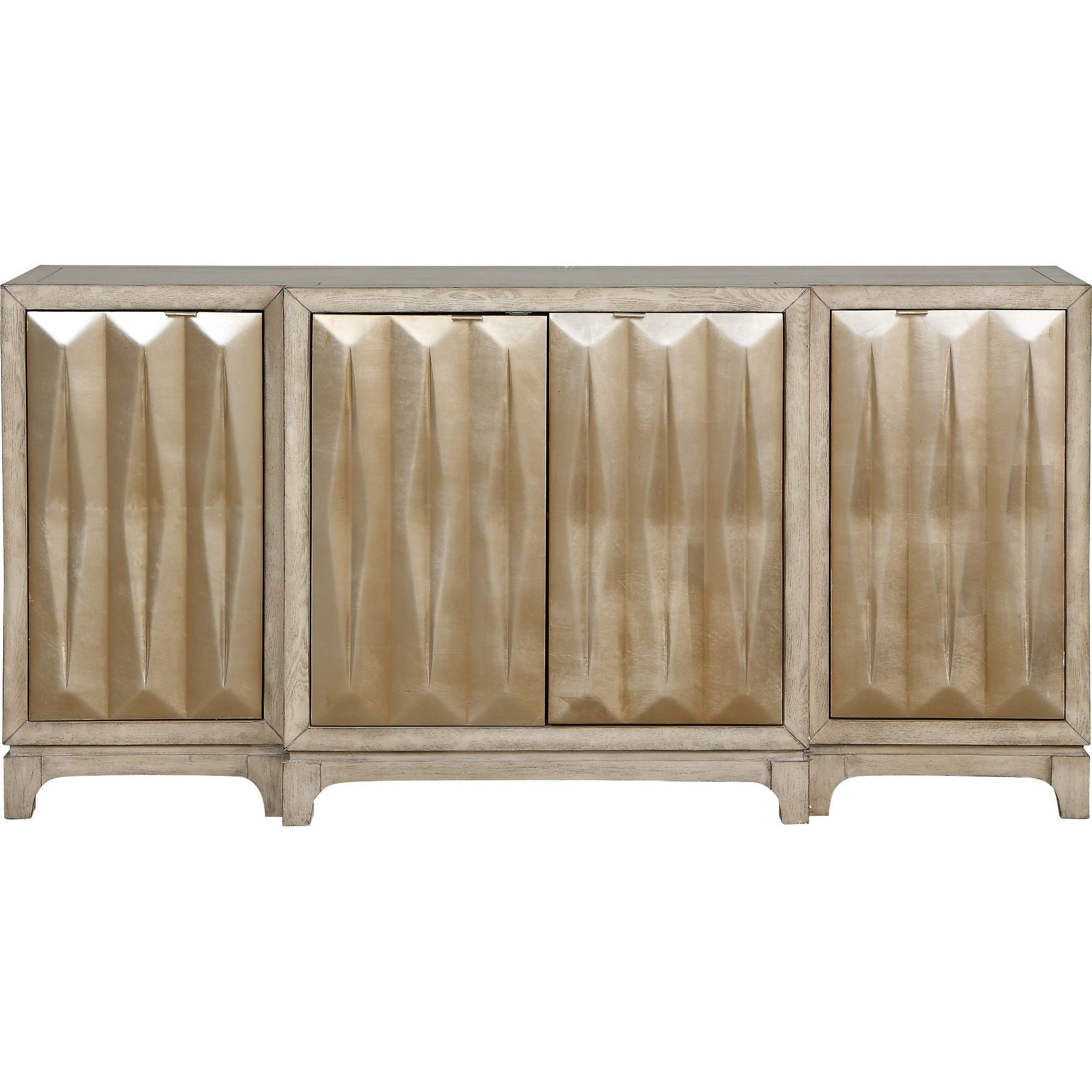 Latest Ethelinda Media Credenzas Throughout Luxe 4 Door Media Credenza White/gold – Treasure Trove In (View 4 of 20)