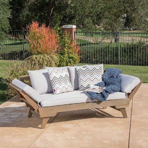 Latest Fansler Patio Daybeds With Cushions With Regard To Shop Ottavio Outdoor Wood Daybed With Cushions (View 13 of 20)