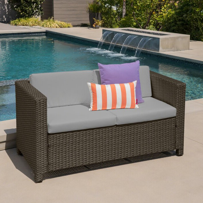 Latest Furst Patio Sofas With Cushion Within Furst Outdoor Loveseat With Cushions (View 6 of 20)