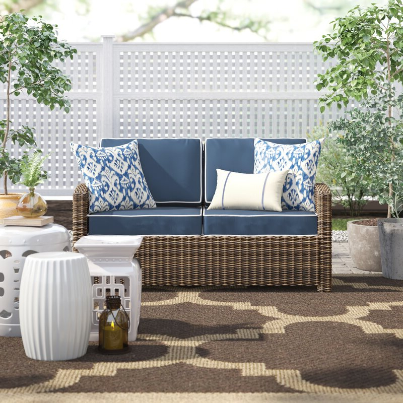 Latest Katzer Patio Sofas With Cushions For Lawson Wicker Loveseat With Cushions (Gallery 15 of 20)