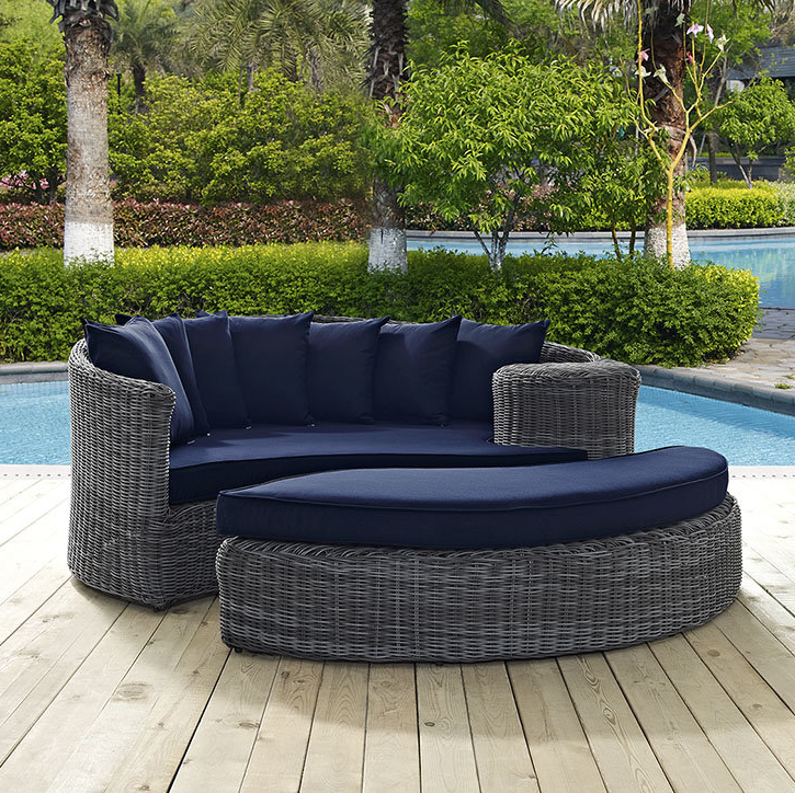 Latest Keiran Patio Daybeds With Cushions Inside Keiran Patio Daybed With Cushions (View 13 of 20)