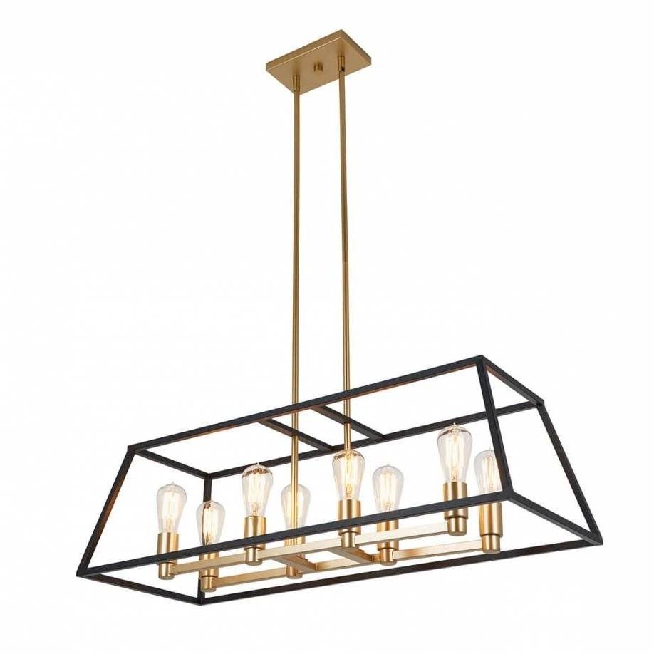 Latest Odie 8 Light Kitchen Island Square / Rectangle Pendants For Rectangular 8 Pendant Light Fixture, Kitchen Island (Gallery 7 of 20)