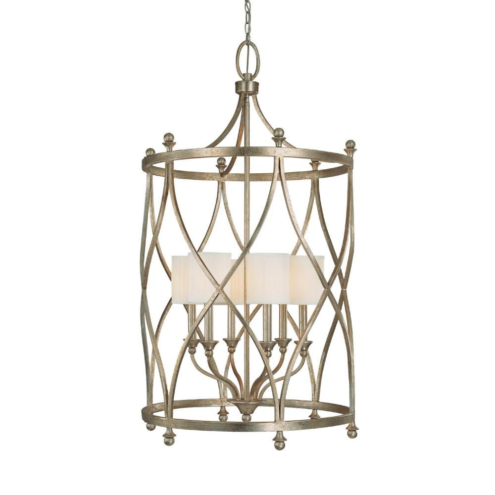 Latest Oriana 4 Light Single Geometric Chandeliers Pertaining To Six Light Gold Open Frame Foyer Hall Fixture : Sku V (View 4 of 20)