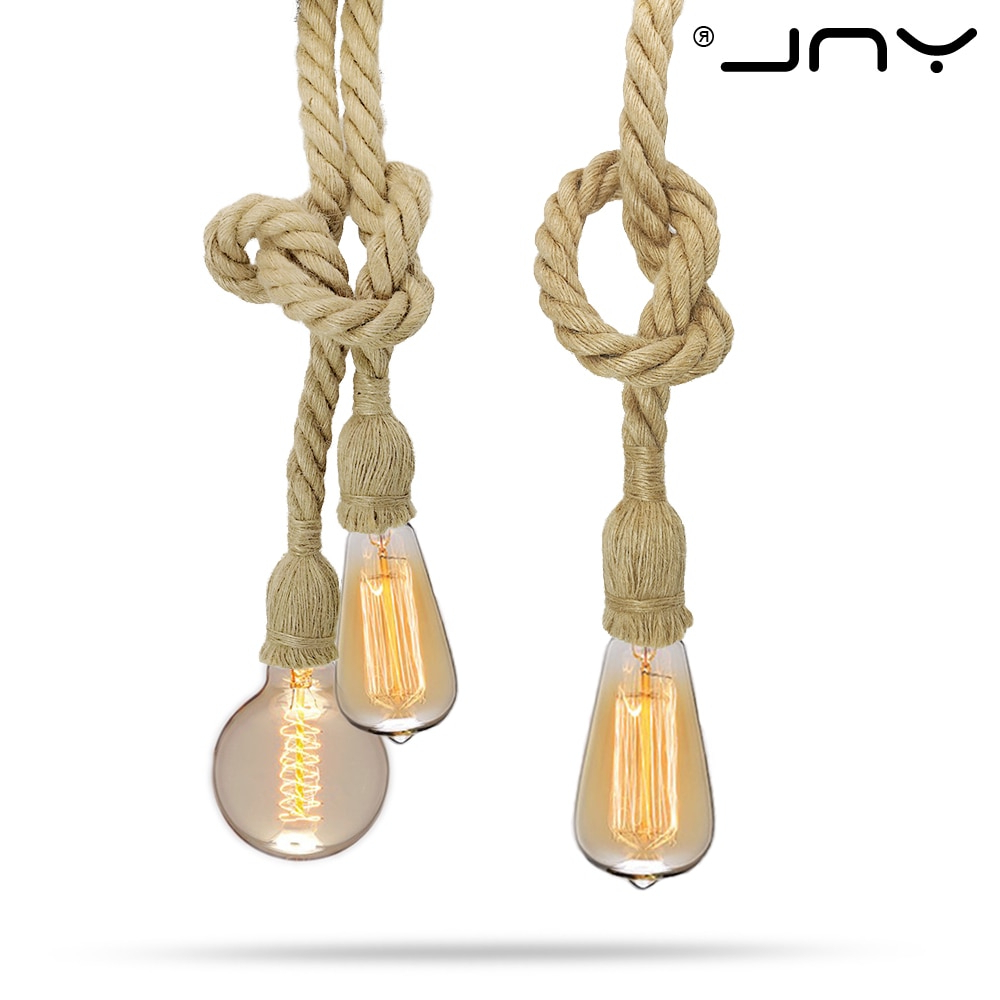 Latest Rossi Industrial Vintage 1 Light Geometric Pendants With Vintage Bamboo Rope Pendant Lights E27 Led 6 Bulbs Loft (View 8 of 20)