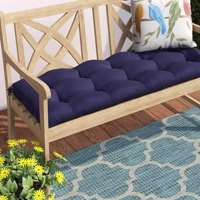 "Latest Sarver 52"" Indoor/outdoor Bench Cushion Regarding Yoselin Patio Sofas With Cushions (View 16 of 20)"