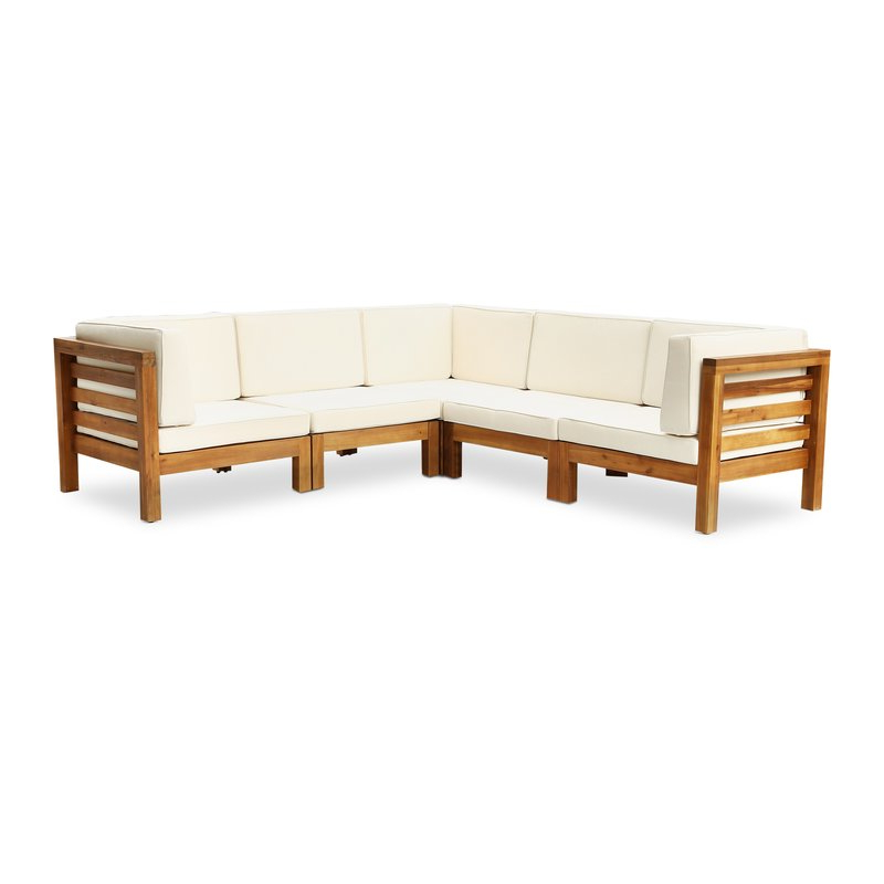 Latest Seaham Teak Patio Sectional With Cushions Pertaining To Seaham Patio Sectionals With Cushions (View 5 of 20)