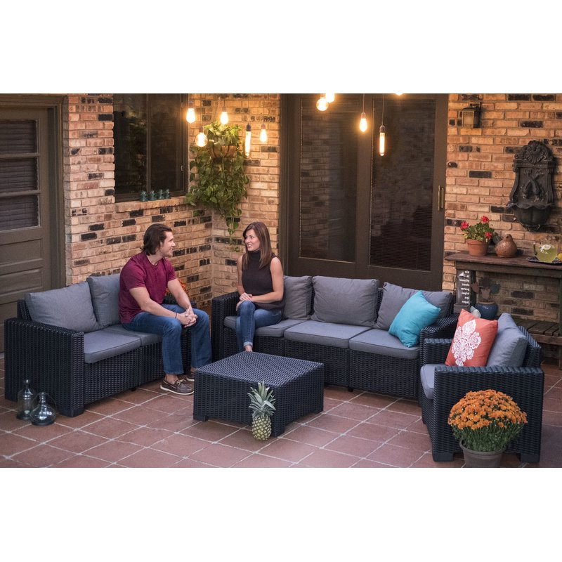 Latest Stallcup Patio Sofa With Cushions Regarding Silloth Patio Sofas With Cushions (View 5 of 20)