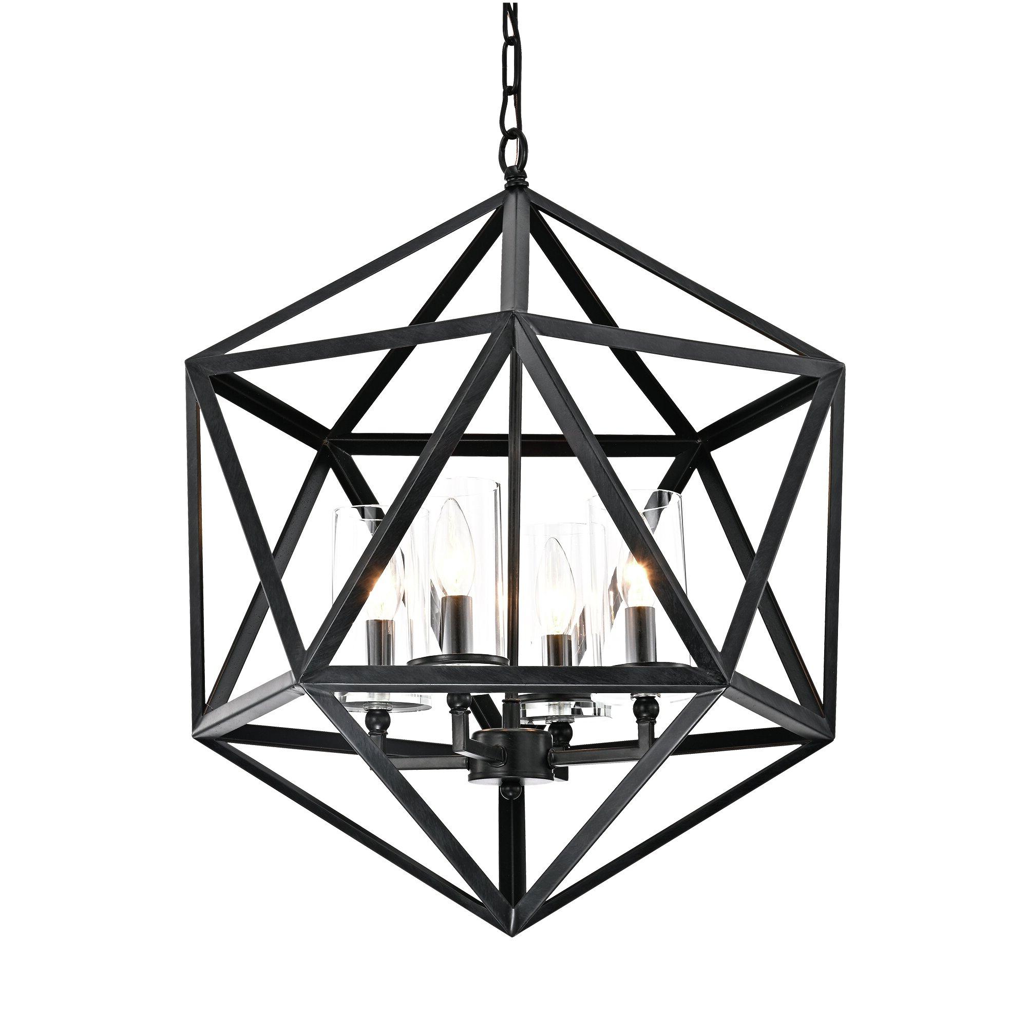 Latest Tabit 5 Light Geometric Chandeliers Inside Venita 4 Light Geometric Chandelier (View 8 of 20)