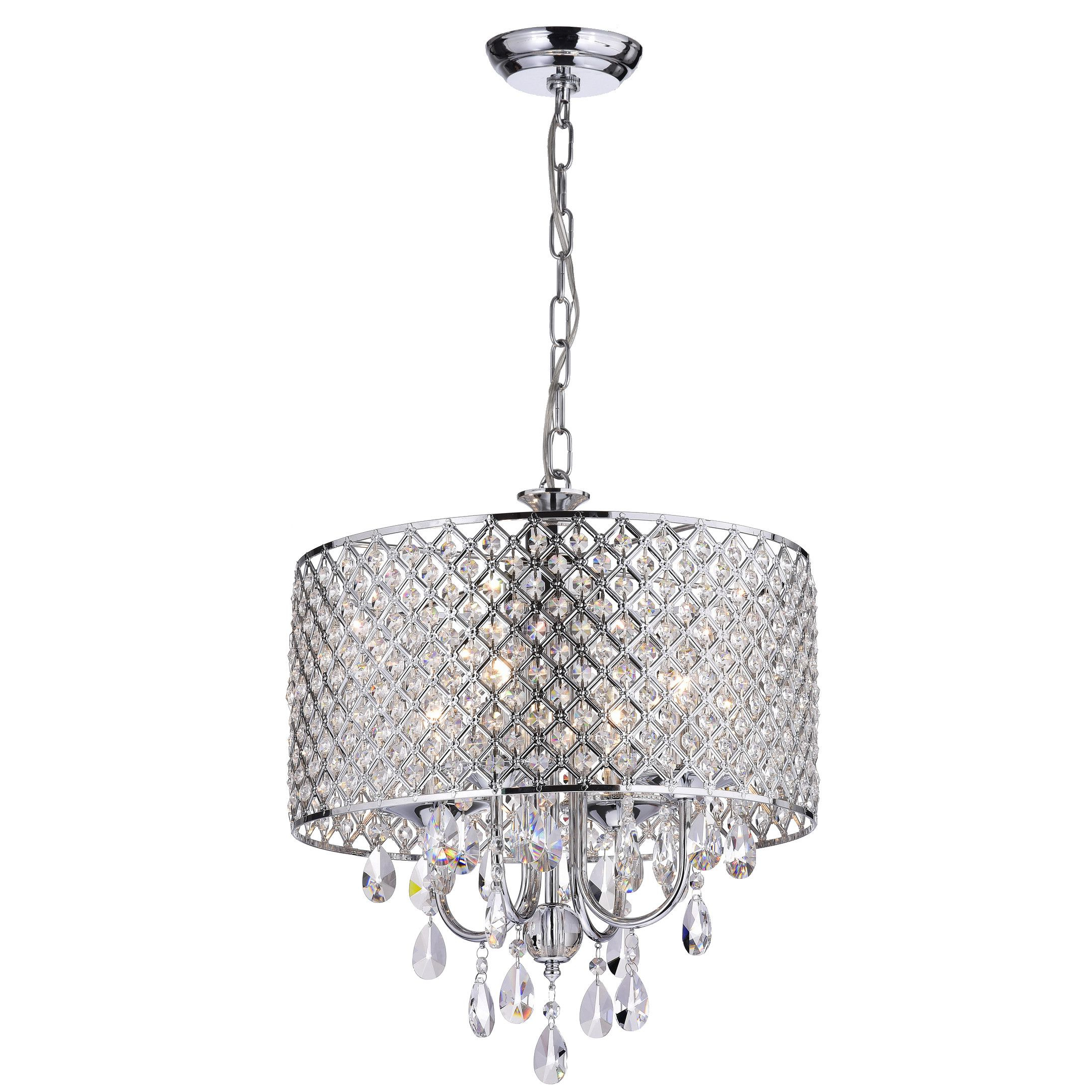 Latest Verdell 5 Light Crystal Chandeliers Inside Edvivi Marya 4 Light Crystal Chandelier (View 10 of 20)