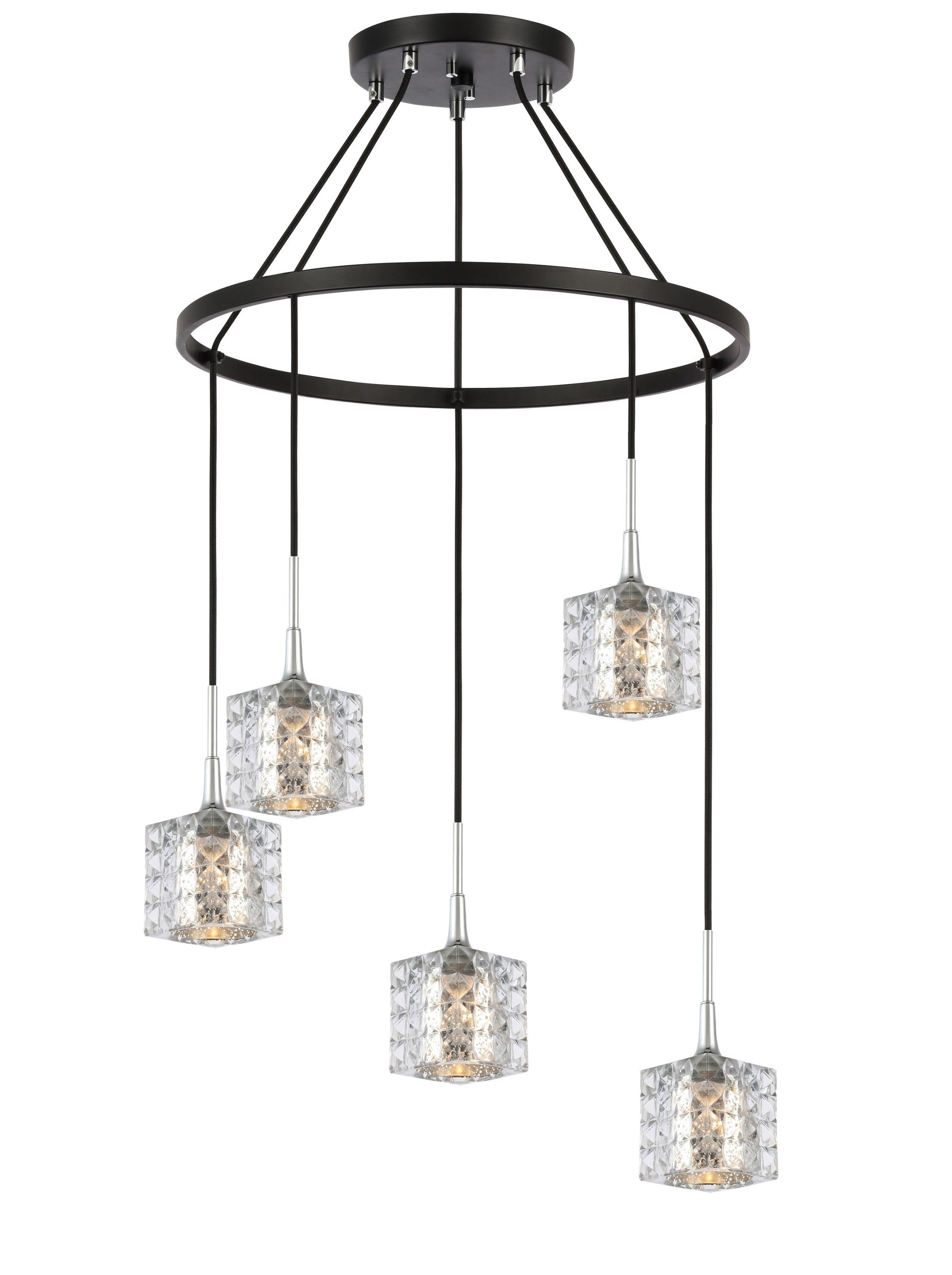 Latest Woodbridge Lighting 20828Chz C80414 Bristol 5 Light Pendant With Regard To Berenice 3 Light Cluster Teardrop Pendants (View 14 of 20)