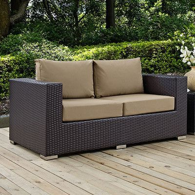 Latitude Run Provencher Patio Loveseat With Cushions Fabric Pertaining To Well Known Provencher Patio Loveseats With Cushions (Gallery 7 of 20)
