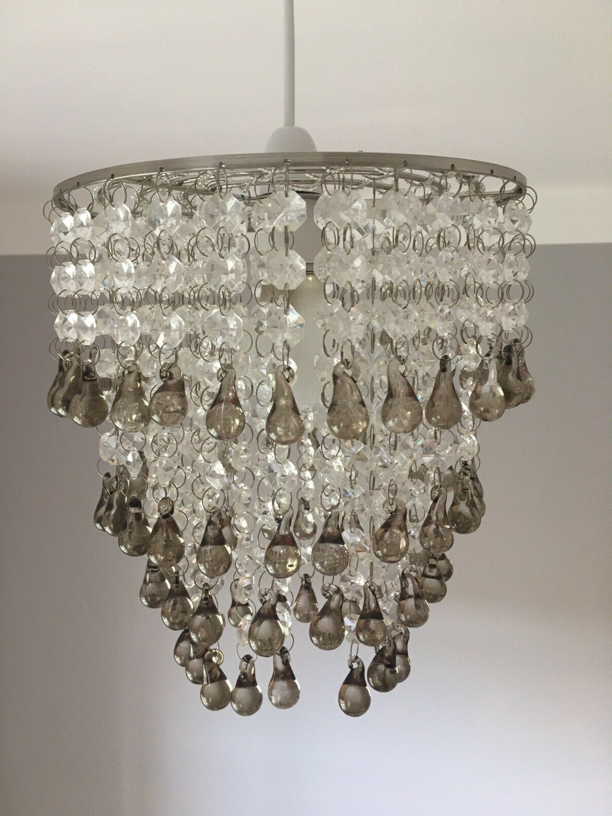 Laura Ashley 'Carmen' Easy Fit Chandelier / Pendant With Smoked Glass Droplets With Widely Used Sinead 4 Light Chandeliers (View 11 of 20)