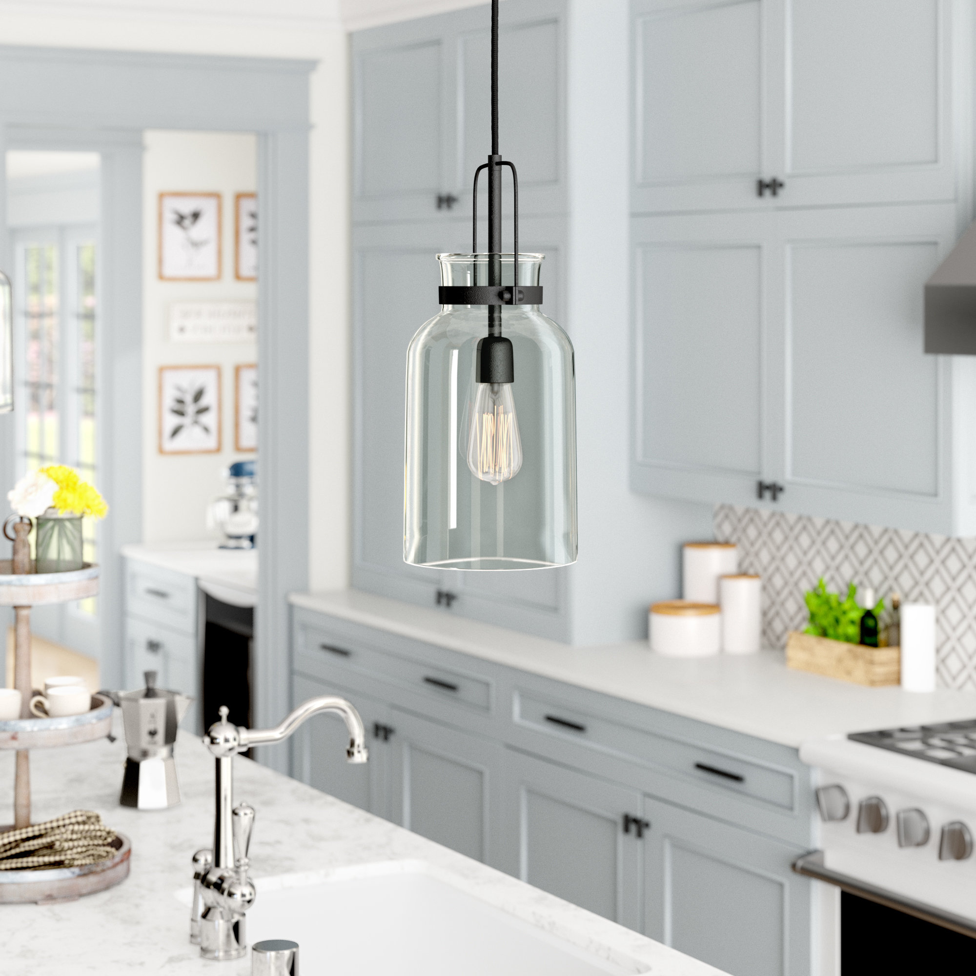Laurel Foundry Modern Farmhouse Nouvelle 1 Light Single Jar With Famous Clematite 1 Light Single Jar Pendants (View 11 of 20)