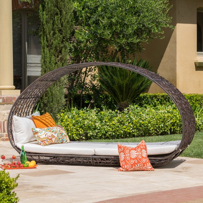 Lavina Outdoor Patio Daybed With Cushions Intended For Trendy Brennon Cube Patio Daybeds With Cushions (View 10 of 20)