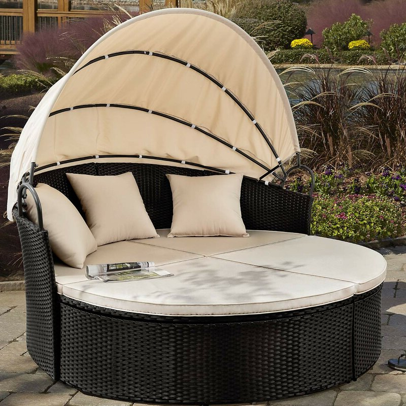 Lavina Outdoor Patio Daybeds With Cushions For Most Recently Released Leiston Round Patio Daybed With Cushions (View 10 of 20)