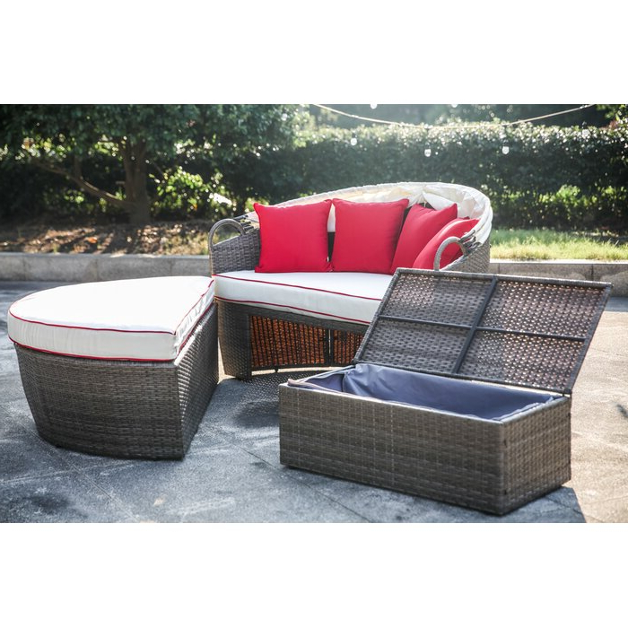 Lavina Outdoor Patio Daybeds With Cushions In Most Up To Date Garden Grove Patio Daybed With Cushions (View 11 of 20)