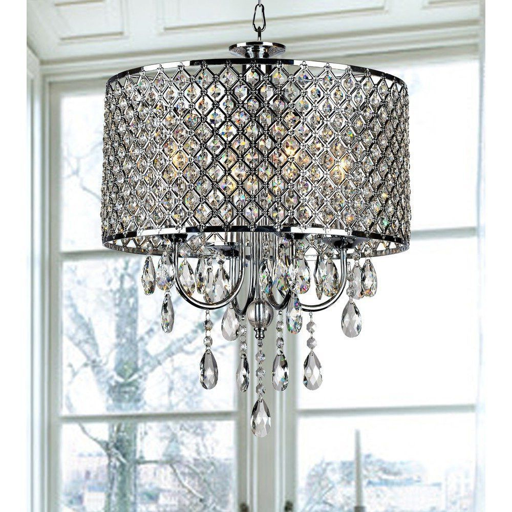 Led 29.1 4 Light Round Hanging Crystal Chandelier Pendant For Best And Newest Albano 4 Light Crystal Chandeliers (Gallery 14 of 20)