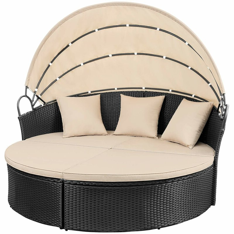 Leiston Round Patio Daybed With Cushions Within Most Up To Date Freeport Patio Daybeds With Cushion (View 12 of 20)