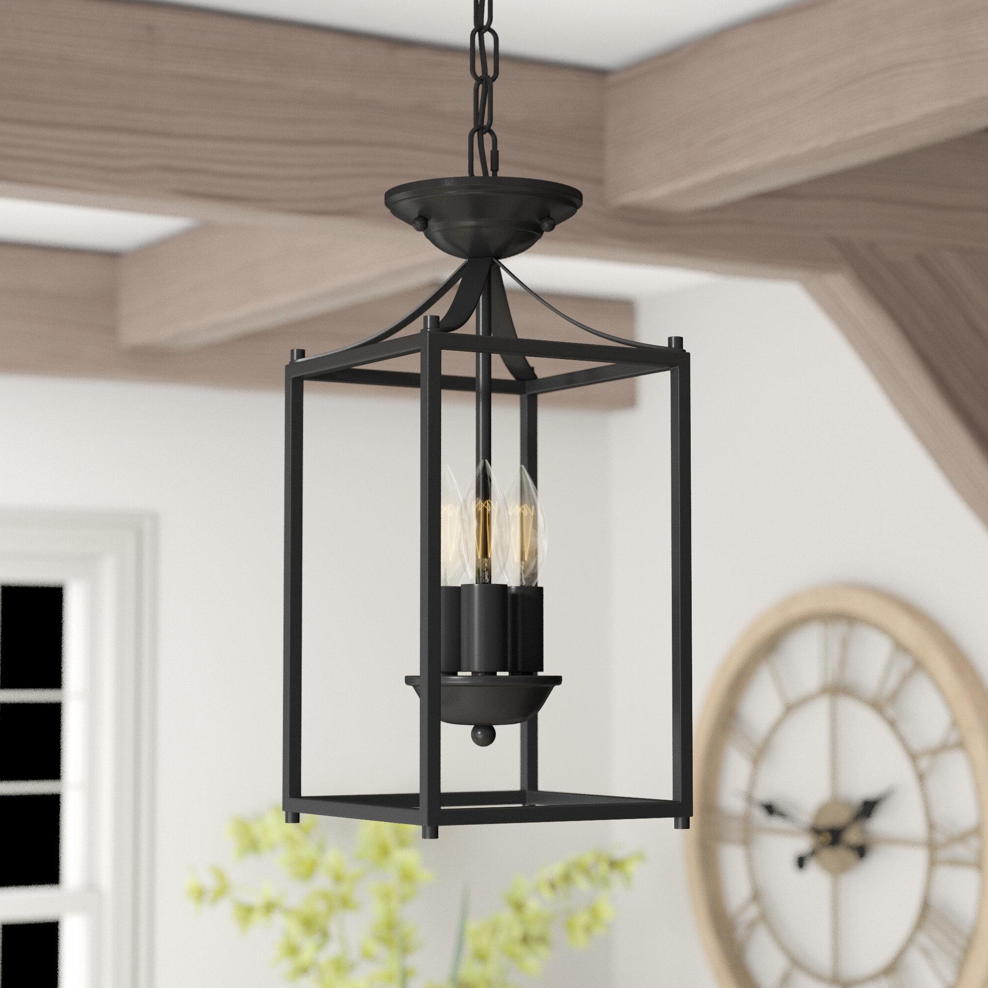 Leiters 3 Light Lantern Geometric Pendants Within Best And Newest Barryton 3 Light Lantern Square Pendant (View 13 of 20)