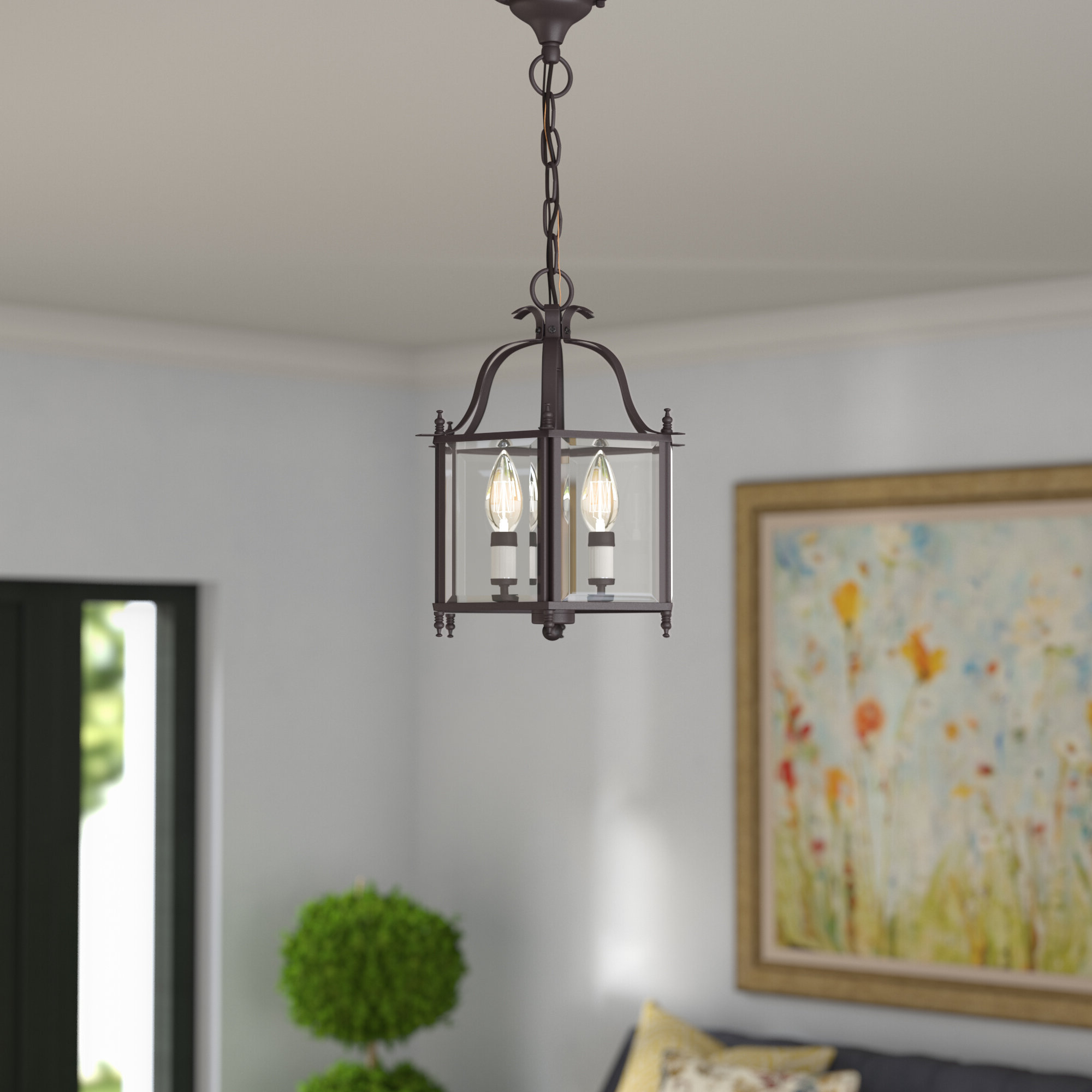 Leiters 3 Light Lantern Geometric Pendants Within Well Known Claysburg 3 Light Convertible Indoor Lantern Pendant (View 14 of 20)
