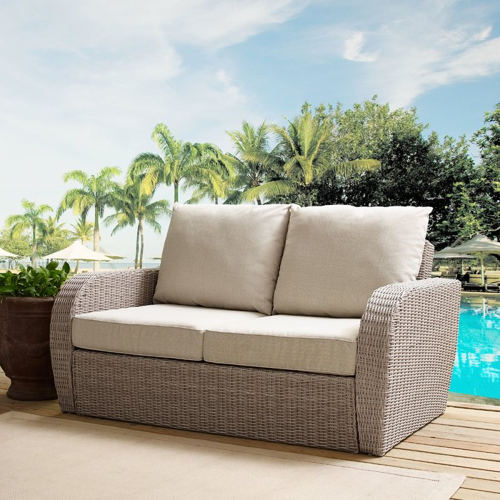 Loggins Loveseats With Cushions For Most Current Zakrzewski Wicker Loveseat With Cushion (View 6 of 20)