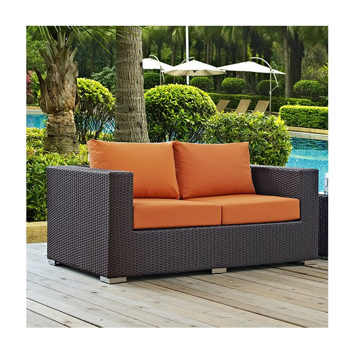 Loggins Loveseats With Cushions Within Best And Newest Provencher Patio Loveseat With Cushions (View 18 of 20)