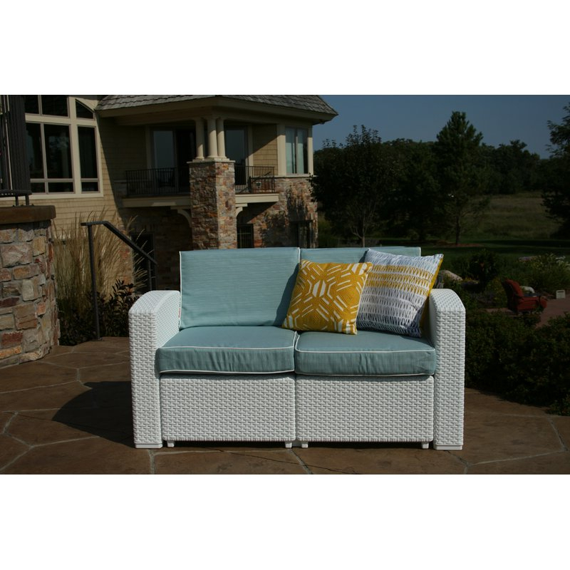 Loggins Patio Loveseat With Cushions With Regard To Famous Loggins Loveseats With Cushions (View 12 of 20)