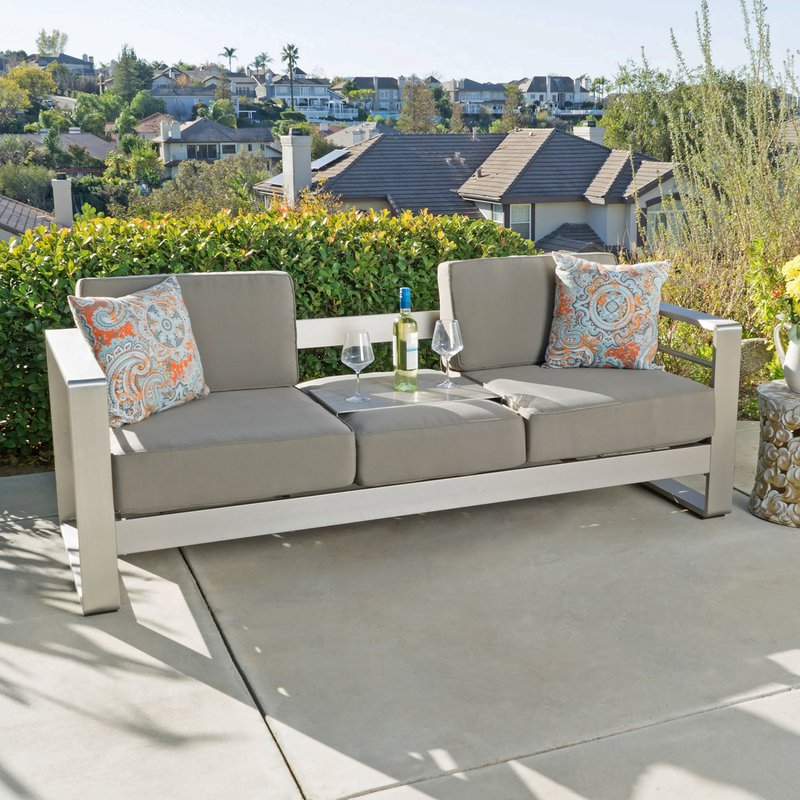 Loggins Patio Sofas With Cushions With Regard To Newest Royalston Patio Sofa With Cushions (View 13 of 21)