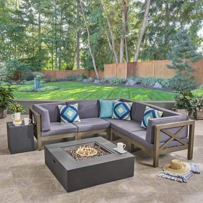 Longshore Tides Abbie 5 Piece Acacia Sectional Seating Group With Cushions  Longshore Tides Pertaining To 2020 Rowley Patio Sofas Set With Cushions (View 9 of 20)