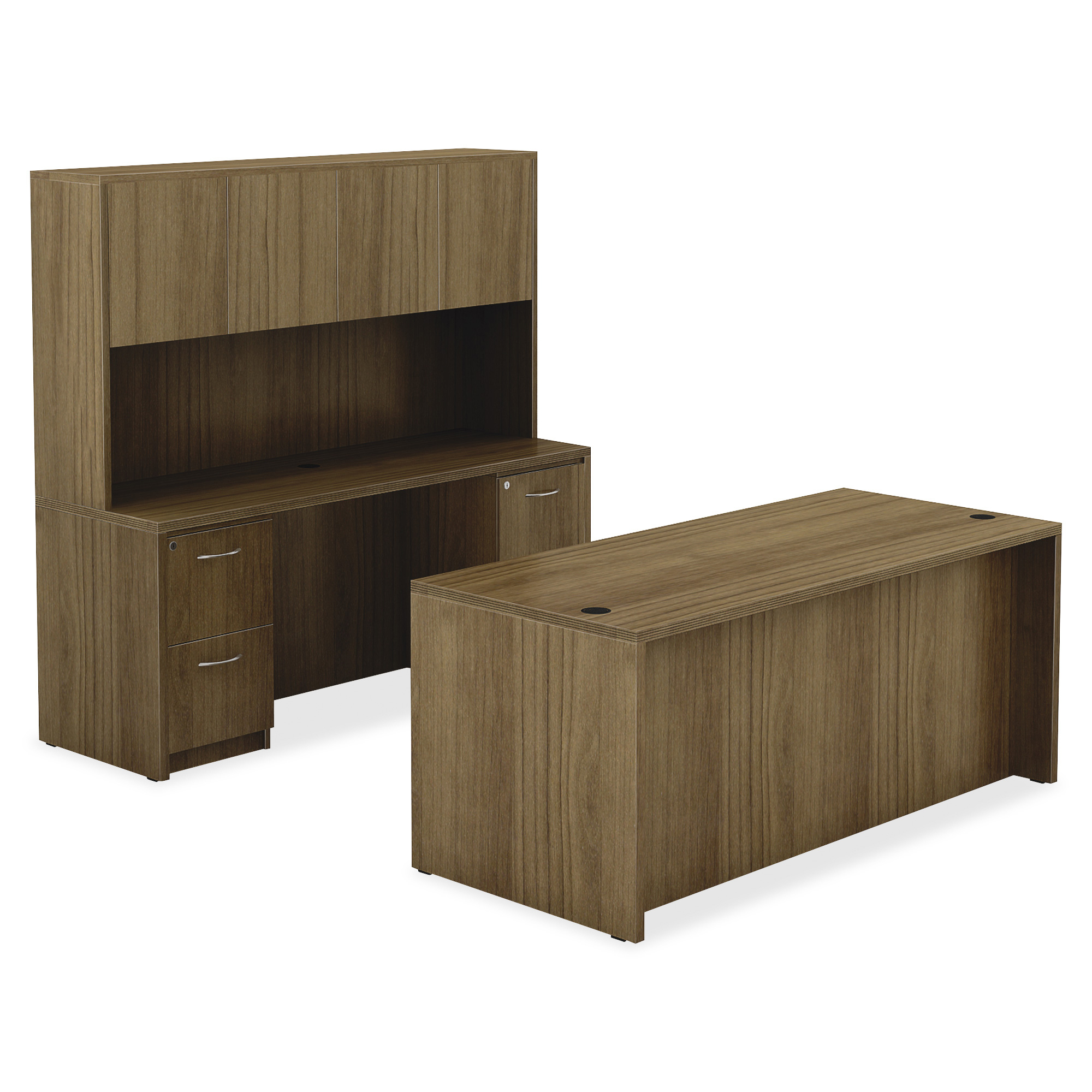 """Lorell Chateau Series Walnut Laminate Desking – 66.1"""" X 23.6 Throughout Widely Used Barr Credenzas (Gallery 18 of 20)"""