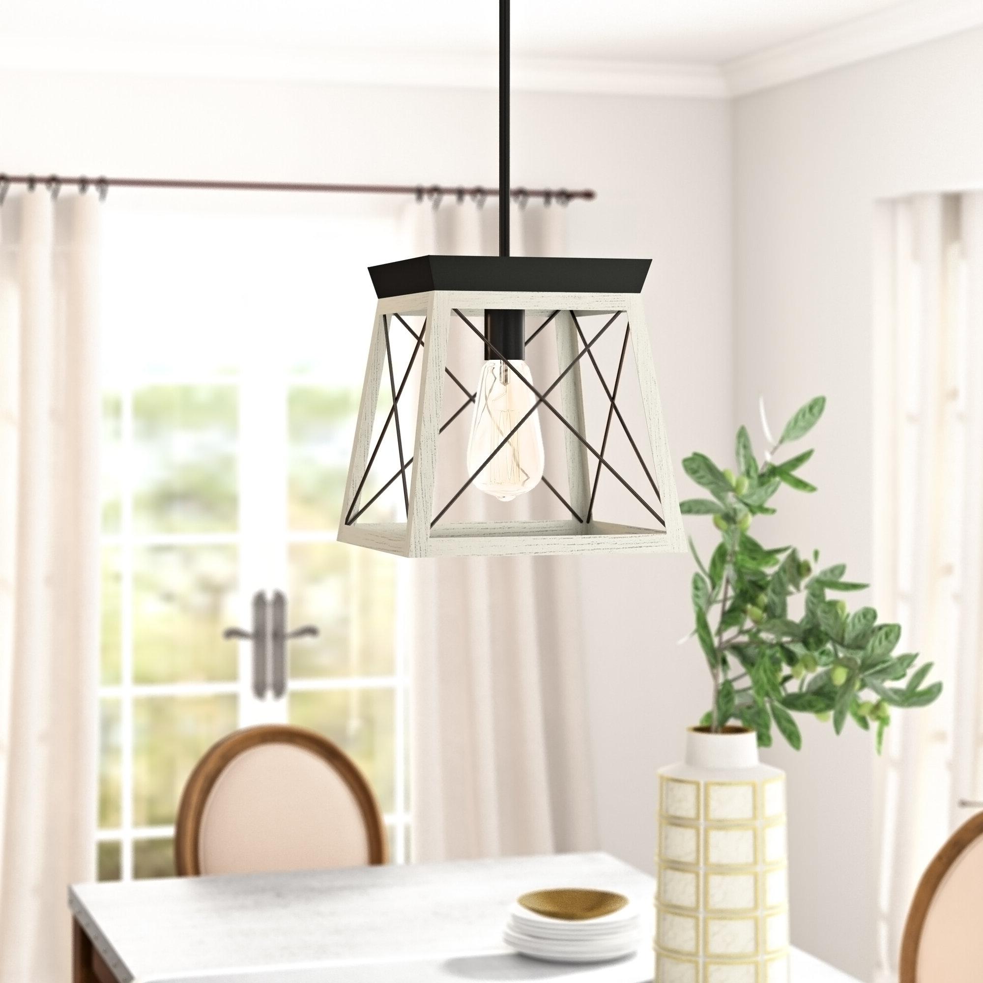 Louanne 3 Light Lantern Geometric Pendants For Well Known Delon 1 Light Lantern Geometric Pendant (View 11 of 20)