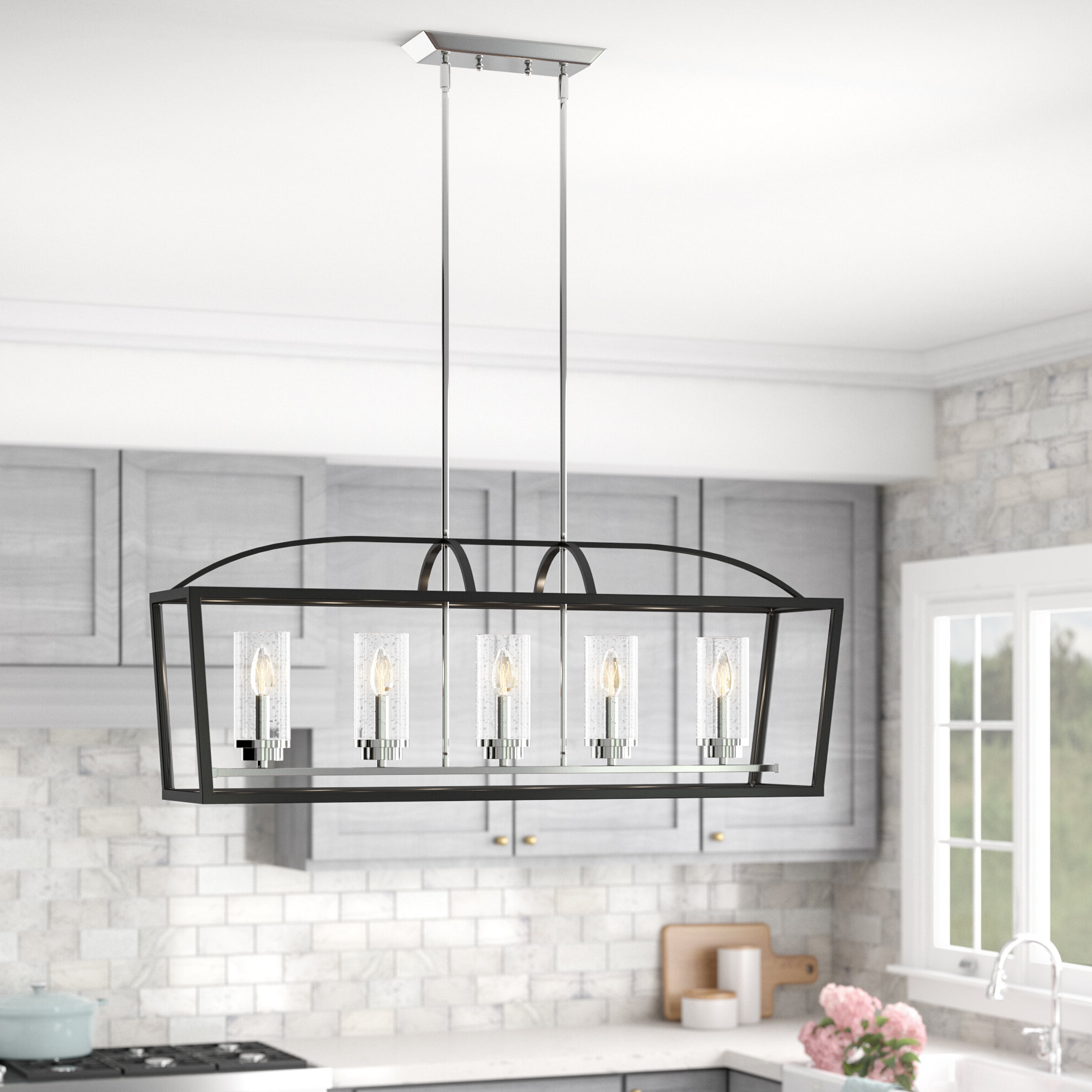Luna 5 Light Kitchen Island Linear Pendant Inside Fashionable Delon 5 Light Kitchen Island Linear Pendants (View 11 of 20)