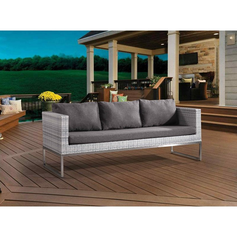 Madison Avenue Patio Sectionals With Sunbrella Cushions Pertaining To Favorite Goncalves Patio Sofa With Cushions (View 14 of 20)
