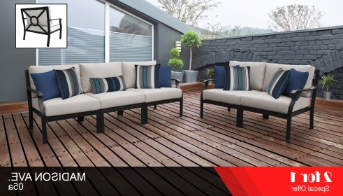 Madison Avenue Patio Sectionals With Sunbrella Cushions Pertaining To Most Recent Kathy Ireland Madison Ave. 5 Piece Outdoor Aluminum Patio Furniture Set 05A (Gallery 5 of 20)
