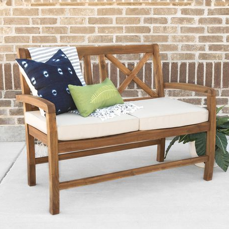 Manor Park 2 Person Wood Outdoor Patio X Back Loveseat With Within Most Recently Released Calvin Patio Loveseats With Cushions (View 14 of 20)