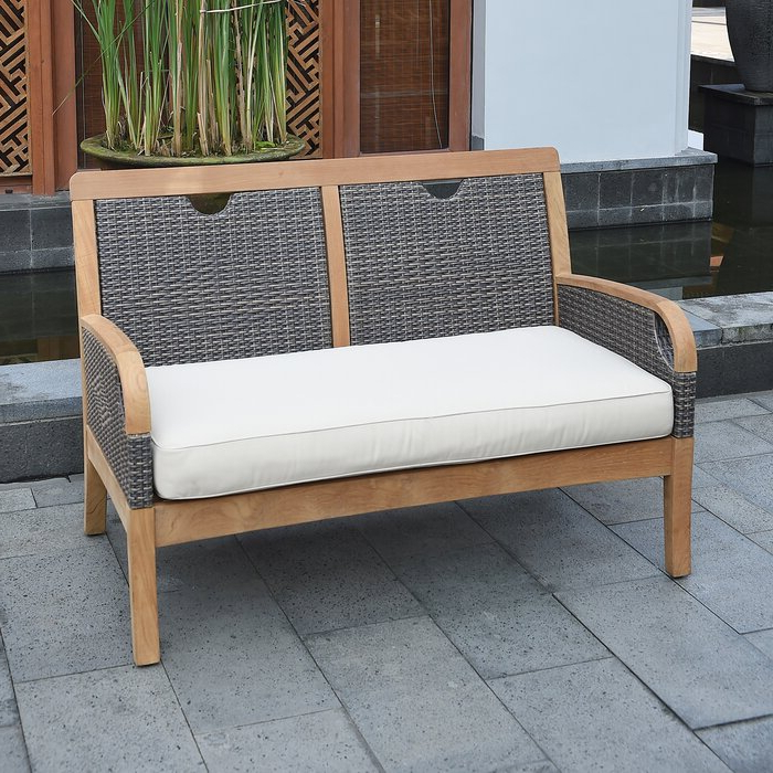 Mansfield Teak Loveseat With Cushion Inside Most Recently Released Summerton Teak Loveseats With Cushions (Gallery 17 of 20)