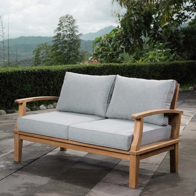 Mansfield Teak Loveseats With Cushion Inside Latest Beachcrest Home Elaina Teak Loveseat With Cushions In 2019 (Gallery 6 of 20)